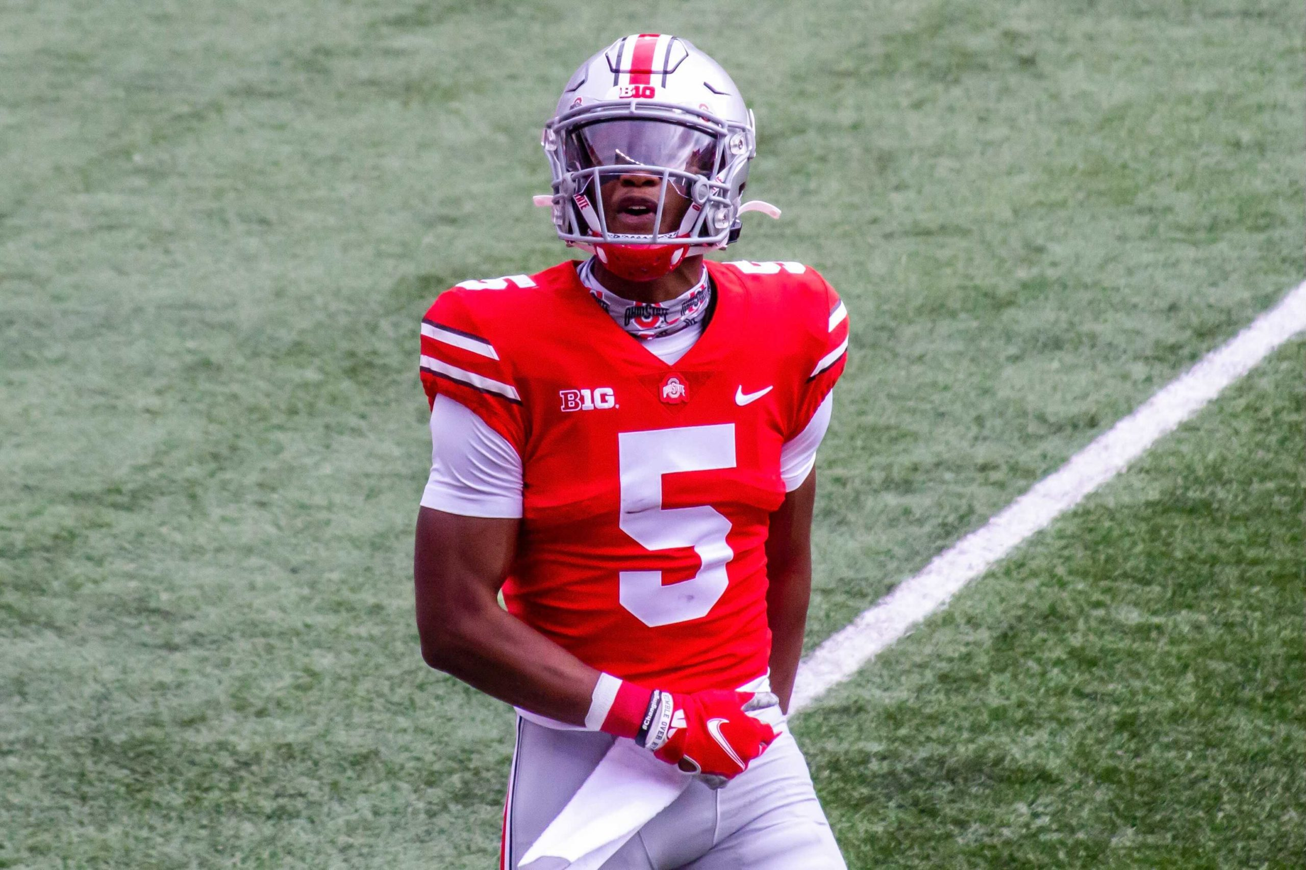 Buckeye Leaves Justin Fields Haskell Garrett Chris Olave Garrett Wilson Stand Out In Ohio State S 52 17 Victory Over Nebraska Buckeye Sports Bulletin